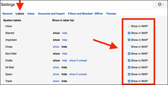 Impostazioni di Google per abilitare il funzionamento delle cartelle in Outlook Mobile.
