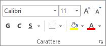 Opzioni del gruppo Carattere