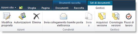 Barra multifunzione per la gestione dei set di documenti