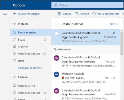 Screenshot della posta in arrivo con Posta in arrivo evidenziata disattivata