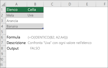 Esempio di utilizzo di funzioni OR e EXACT per confrontare un valore con un elenco di valori