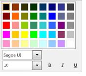 Schermata della finestra per la modifica del carattere