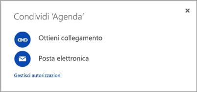 Screenshot della finestra di dialogo Condividi
