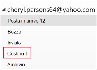 Se viene visualizzata la cartella Cestino, si usa un account IMAP.