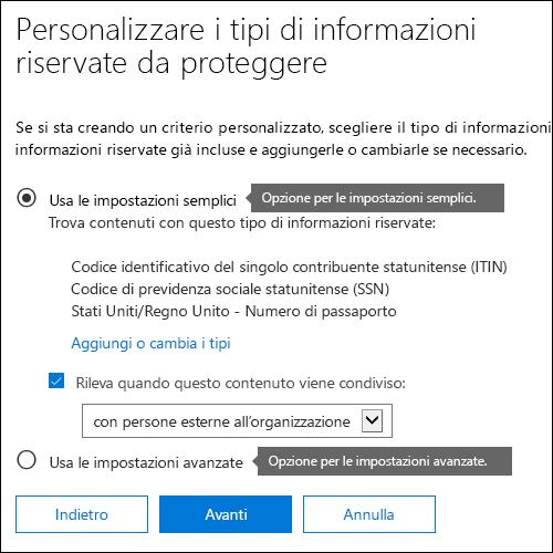 Opzioni dei criteri di prevenzione della perdita dei dati per le impostazioni semplici e avanzate
