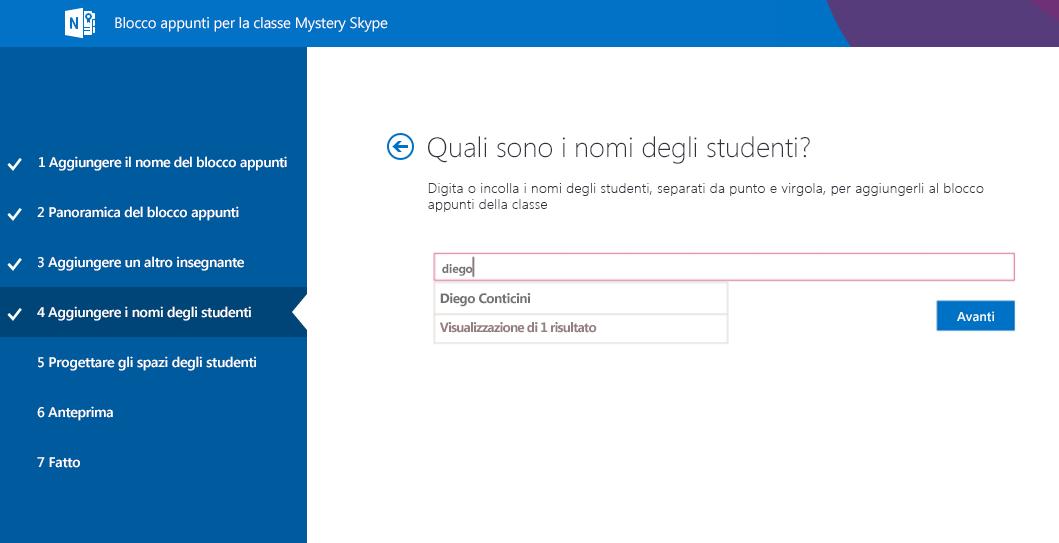Aggiungere studenti a Mystery Skype