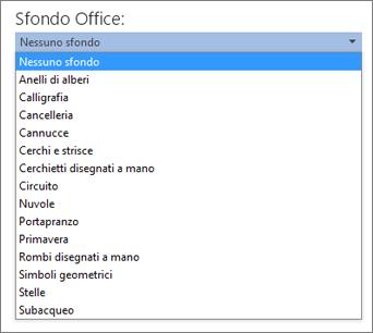 Elenco Sfondo Office nelle applicazioni di Office 2013