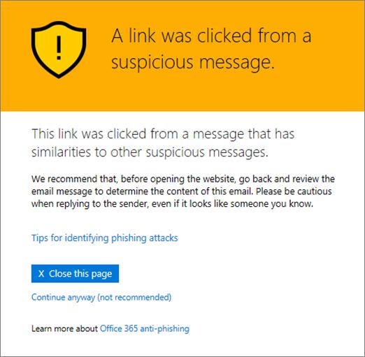 Questo URL è in un messaggio di posta elettronica sospetto
