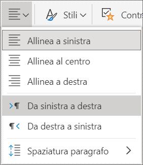 Opzioni del menu Allineamento di paragrafo in OneNote Online.