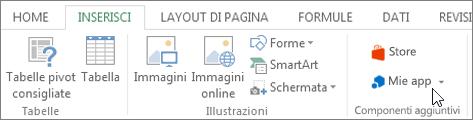 Screenshot di una sezione della scheda Inserisci sulla barra multifunzione di Excel con un cursore che punta alle mie app. Selezionare le mie app per accedere alle app per Excel.