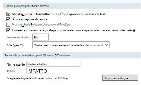 Opzioni comuni di Word 2007
