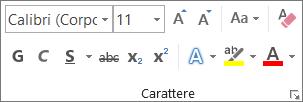 Opzioni di formattazione del testo nel gruppo Carattere