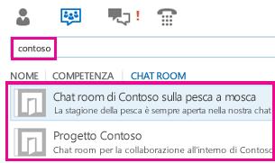 Schermata della visualizzazione chat room della finestra principale di Lync con i risultati della ricerca di chat room