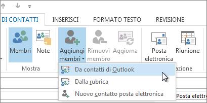 Aggiungere nuovi membri dai contatti di Outlook