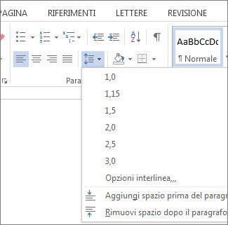 Screenshot della scheda Home in Word, con il menu Spaziatura paragrafo e interlinea visualizzato.