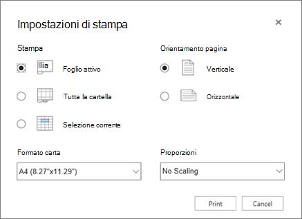 Opzioni di stampa delle impostazioni dopo aver fatto clic su file > stampa