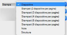 Nella casella Stampa, selezionare le diapositive