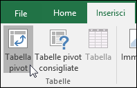 Passare a Inserisci > Tabella pivot per inserire una tabella pivot vuota