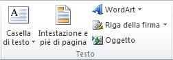 Gruppo Testo della scheda Inserisci sulla barra multifunzione di Excel 2010.