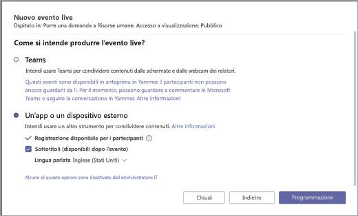 Pagina evento live che mostra le opzioni di tipo produzione