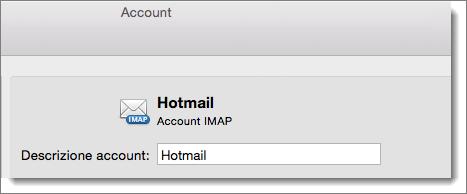 Una descrizione e un tipo di account di Outlook vengono visualizzate.