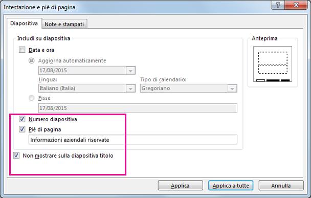 Mostra la finestra di dialogo Inserisci intestazione in PowerPoint