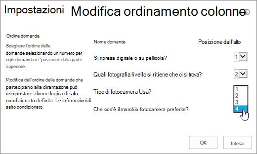 Finestra di dialogo Modifica ordine domande con l'elenco a discesa di una domanda evidenziato