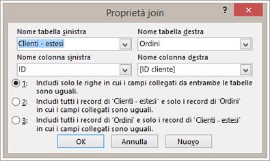 Screenshot della finestra di dialogo Proprietà join con Nome tabella sinistra evidenziato