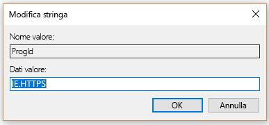 Selezionare IDProg per HTTPS nella stringa di modifica