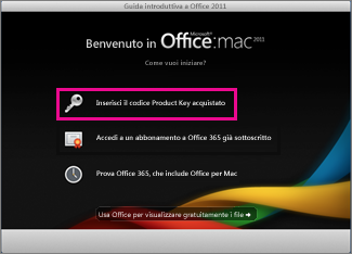 Schermata di attivazione di Office per Mac