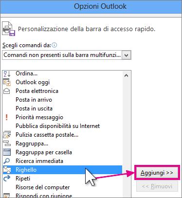 Selezione dell'icona Righello da aggiungere alla barra di accesso rapido