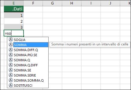 Completamento automatico formule di Excel