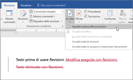 Revisioni in Word per Office 365
