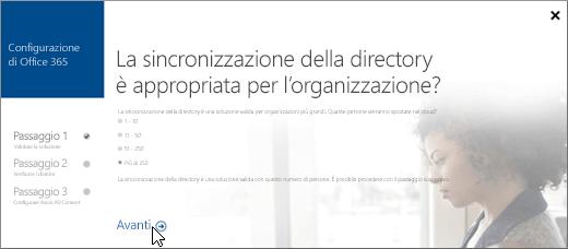 Scegliere Avanti per continuare a configurare la sincronizzazione della directory