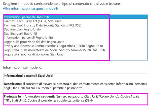 Modello dei criteri di prevenzione della perdita dei dati