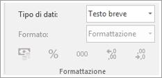 Parte di schermata che mostra il campo Tipo di dati