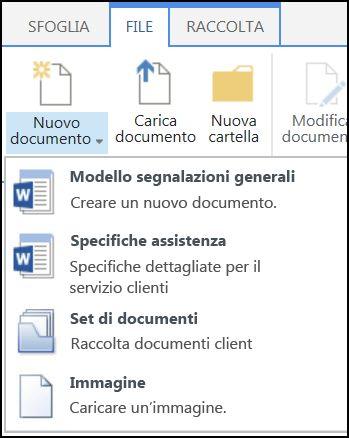 Menu Nuovo documento con tipi di contenuto personalizzato in SharePoint