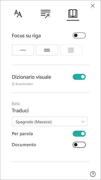 Le opzioni di traduzione si trovano nella sezione dizionario immagini.