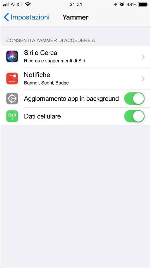 menu impostazioni di Yammer di iOS
