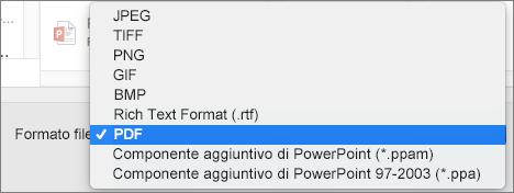 Esportazione in PDF in PowerPoint 2016 per Mac