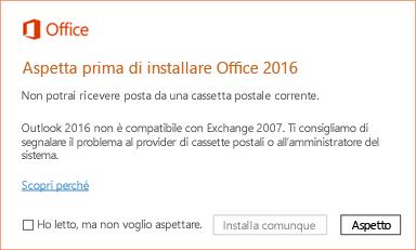 Errore: Aspetta prima di installare Office 2016