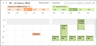 Visualizzazione affiancata del calendario di Google Calendar in Outlook
