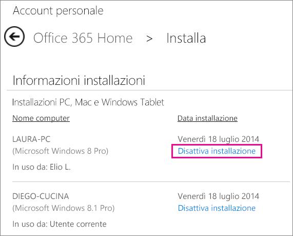 Pagina di installazione con il collegamento Disattiva installazione.