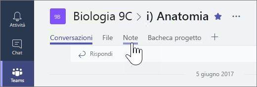 Blocco appunti per la classe in Microsoft Teams per la collaborazione