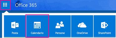 icona di avvio delle app con il pulsante Calendario evidenziato