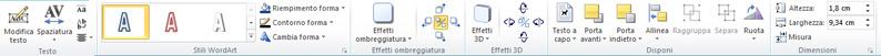 Scheda Strumenti WordArt di Publisher 2010