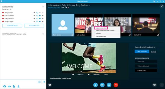 Schermata di Skype Meeting Broadcast con il comando Attiva video evidenziato