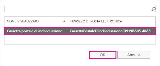 Copiare i risultati della ricerca nella cassetta postale di individuazione predefinita