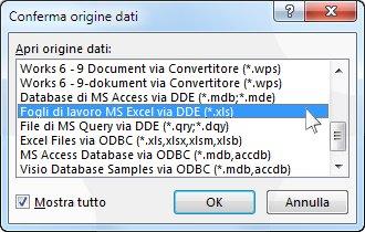 Finestra di dialogo Conferma origine dati
