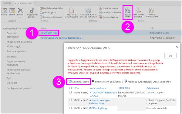 Finestra di dialogo Criteri per l'applicazione Web
